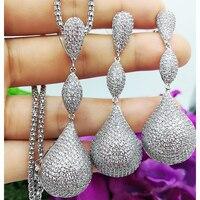 GODKI DUBAI Statement Noble Luxury WaterDrop Earring Necklace Jewelry Sets for Women Cubic Zirconia Earrings Wedding Jewelry Set
