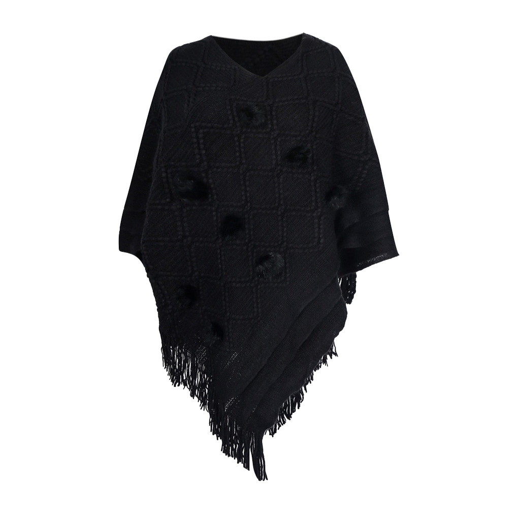 Feitong Sweater Coat Shirts Pullovers Shawl Poncho Tassles Cashmere Winter Knitted Women