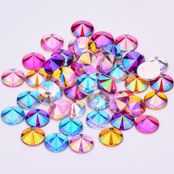 JUNAO 4 5 6 10 mm Glitter Purple AB Face Rhinestones Flat Back Acrylic Stones Rivoli Crystal Applique Nail Art Decoration 6