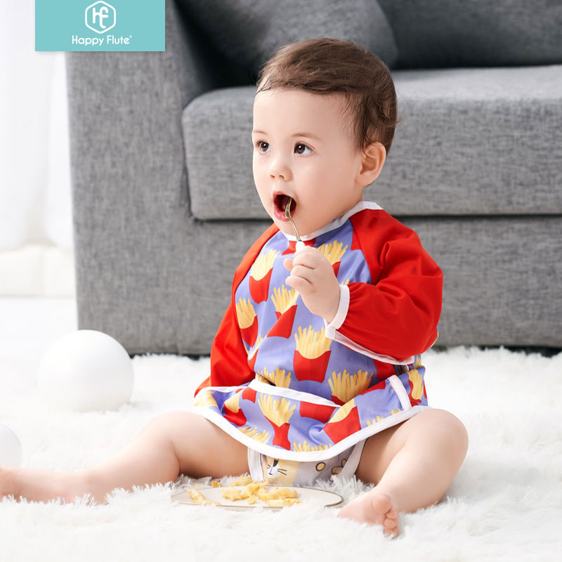 Happy Flute PUL Baby Waterproof Long Sleeve Feeding Baby Bibs Odorless For 6-24 Months Baby