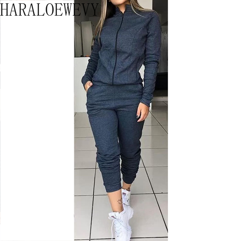 Zip Cardigan Solid Color Long Sleeve Tracksuit Women Autume Coat Streetwear Women Casual Tops and Pants Tracksuit