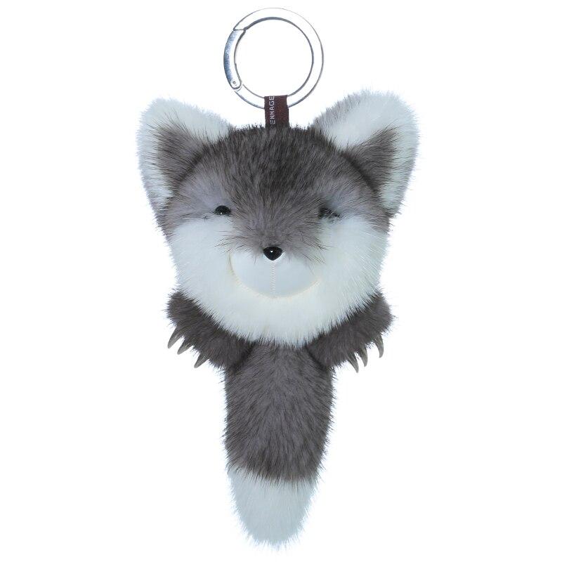 Copenhagen luxury mink gray white Fox with metal claw doll pendant mobile phone decoration bag pendant key chain