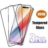 Funda completa de vidrio templado para iPhone, Protector de pantalla para iPhone 7 Plus 6 6s 8X10 11 XR XS Max 12 Pro Mini SE 2020, 3 unidades