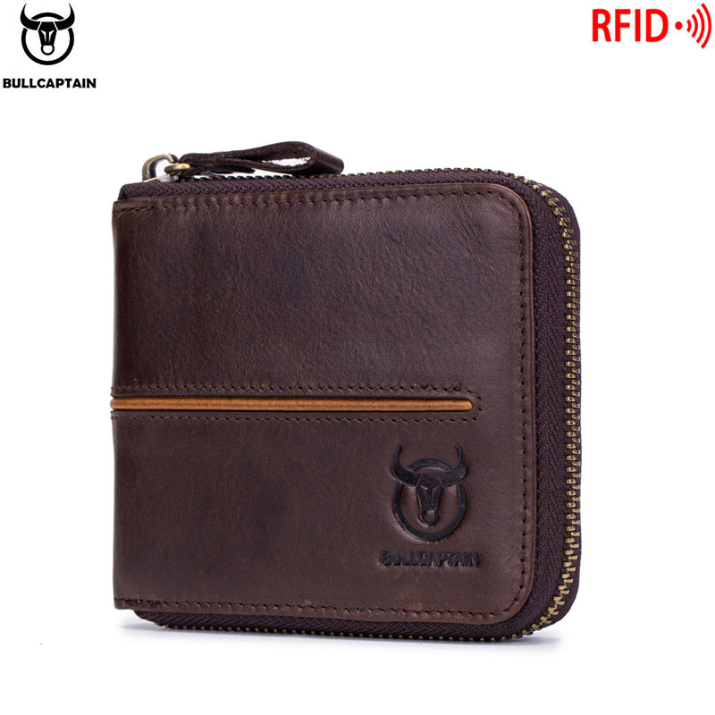 Bullcaptain Retro RFID Zipper With Compartment Men's Wallet RFID Credit Card Holder Anti-theft Leather Mini Men's Wallet