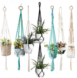 New arrival handmade macrame plant hanger pot hanger pot tray for home macrame pot tray