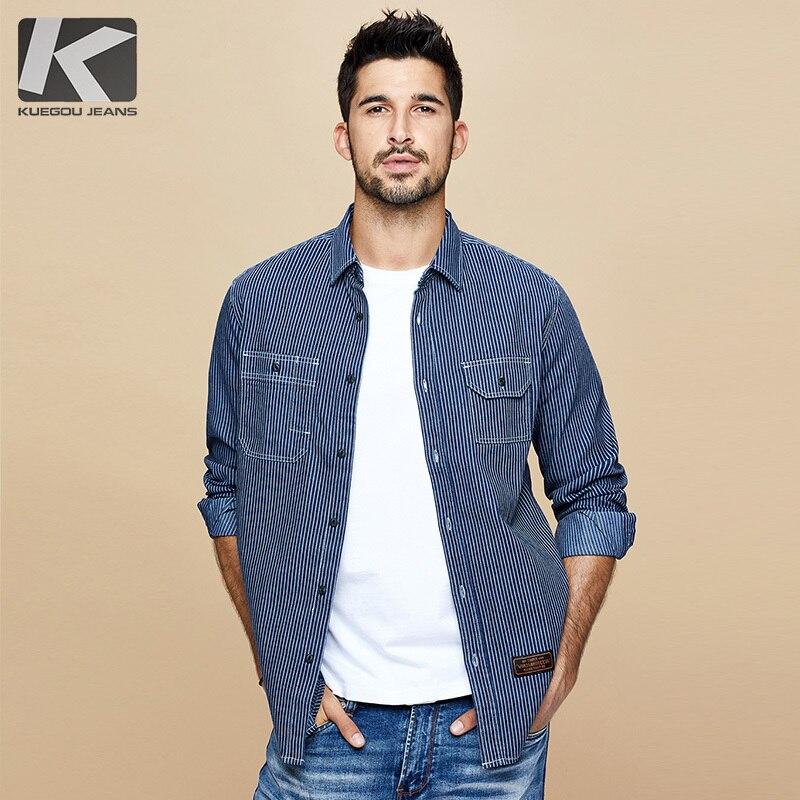 KUEGOU 2019 Autumn Cotton Striped Black Shirt Men Dress Button Casual Slim Fit Long Sleeve For Male Brand Blouse Plus Size 6116