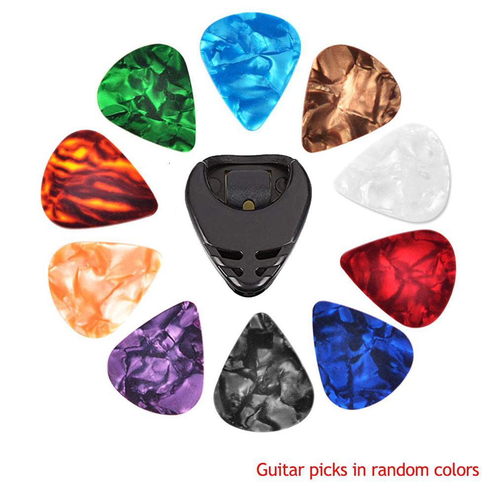 10 Pcs Guitar Picks & Guitar Pick Holder Set Acoustic Guitar Electric Guitar Bass Ukulele Stick-on Holder (Picks Random Color)