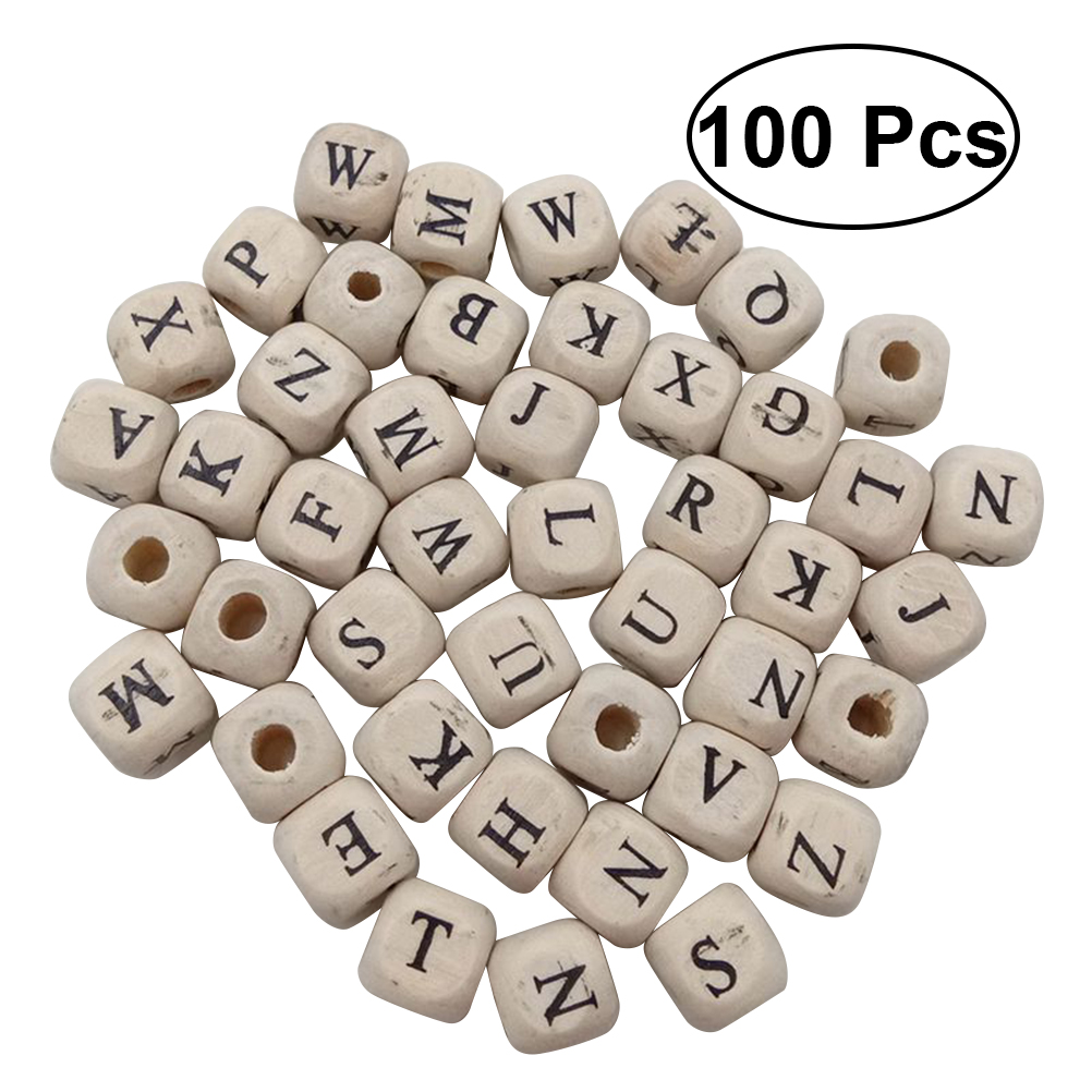 100 Pcs Alphabet Letter Wooden Beads 10 Mm Cube Spacer Beads DIY Crafts For Bracelet Necklace Jewelry Making