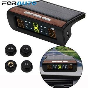 Image 1 - Inteligentny System monitorowania ciśnienia w oponach TPMS Solar Power cyfrowy wyświetlacz LCD systemy alarmowe w samochodzie ciśnienie w oponach