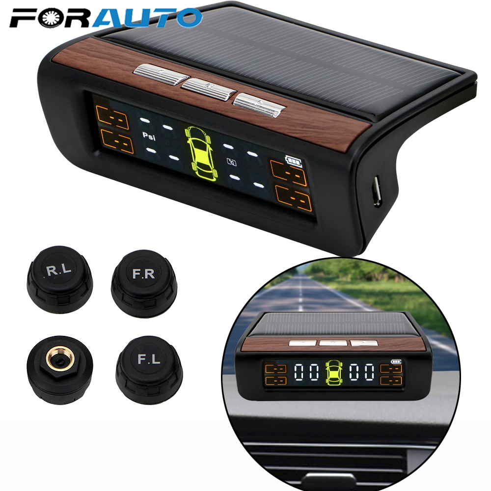 Smart Car TPMS Tyre Pressure Monitoring System Solar Power Digital LCD Display Auto Security Alarm Systems Tyre Pressure