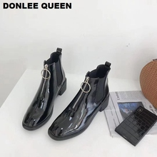 Ankle Boots for Women Thick Heel Round Toe Brand Front Zipper Shoes Woman Casual Black Chaussure Female  Mujer