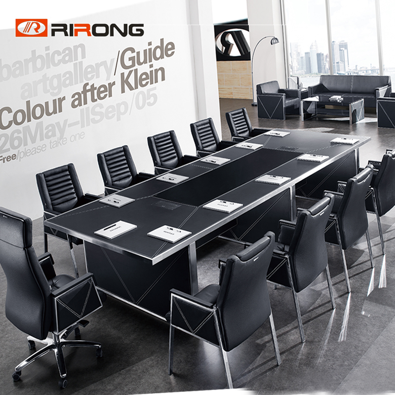 Customzied Rectangle  2.4m Black Color Office Conference Meeting Room Office Meeting Table For 6 People