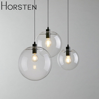 Nordic Pendant Lights Simple Modern Glass Ball Pendant Lamp Lustre Suspension Kitchen Light Fixture E27 Art Deco Home Lighting
