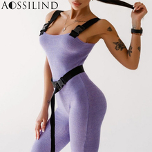 AOSSILIND Buckle Strap Ribbed Jumpsuit Sexy Sleeveless Bodycon Rompers With Belt Summer Women Casual Overalls аскольд акишин лес