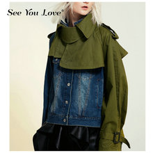 See You Love High Street Europe Denim Stitching Women Jacket Autumn New 2019 Fashion Ladies Jackets Wild Casual Clothing
