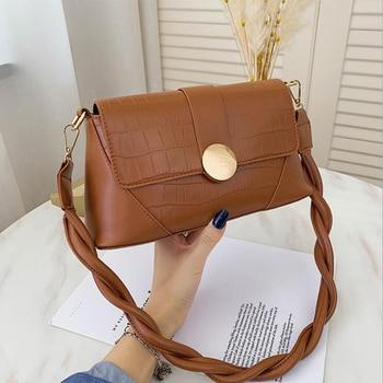 2020 New Stone Pattern Shoulder Bag Rope Strap PU Leather Crossbody Bags for Women Designer Handbags Luxury Women Bags - Brown, 25x12x9cm