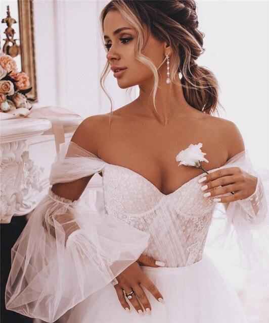 Fairy Boho Wedding Dresses Detachable Long Puff Sleeve Bride Dress Vintage Lace Beach Wedding Gowns Plus Size Corset Back Sweet 4