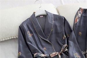 Image 4 - 봄 가을 여성 잠옷 바지와 함께 설정 섹시한 실크 숙녀 새틴 nightwear 가운 pijama 긴 소매 잠옷 파자마 femme