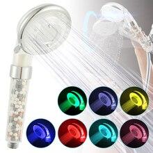 Светодиодный спа-Душ под давлением, экономия воды, контроль температуры, 7 цветов, сменная душевая головка, ручной фильтр, душ для ванной комнаты