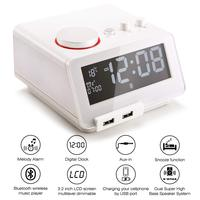 Homtime portable Bluetooth Speaker lound wireless speaker clock radio Thermometer speaker USB Chargers support TF for bedroom