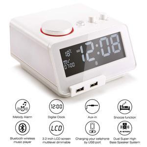Homtime przenośny głośnik Bluetooth lound głośnik bezprzewodowy radio z budzikiem termometr głośnik USB ładowarki wsparcie TF do sypialni