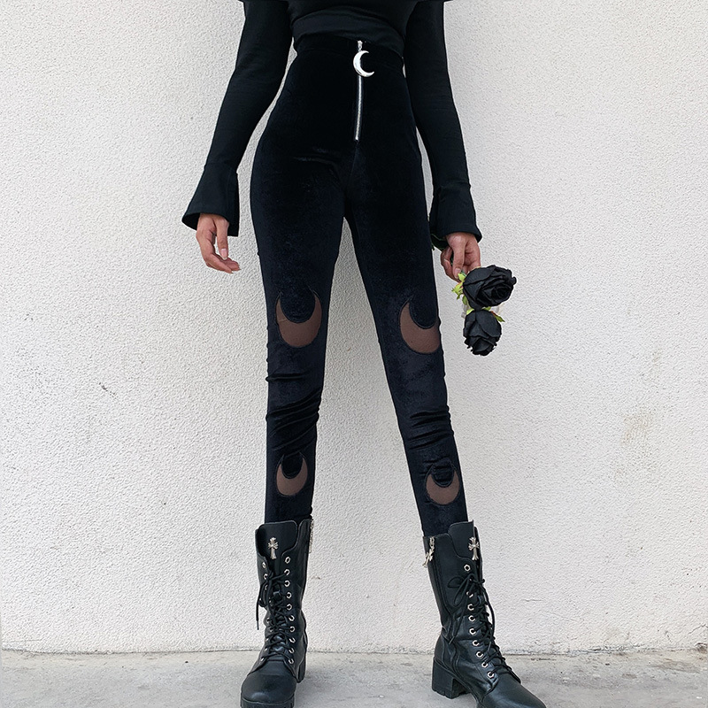 Goth Dark Black Gothic Female Trousers Harajuku Winter 2019 Aesthetic Moon Pendants Zipper Women's Pants Patchwork Grunge Punk