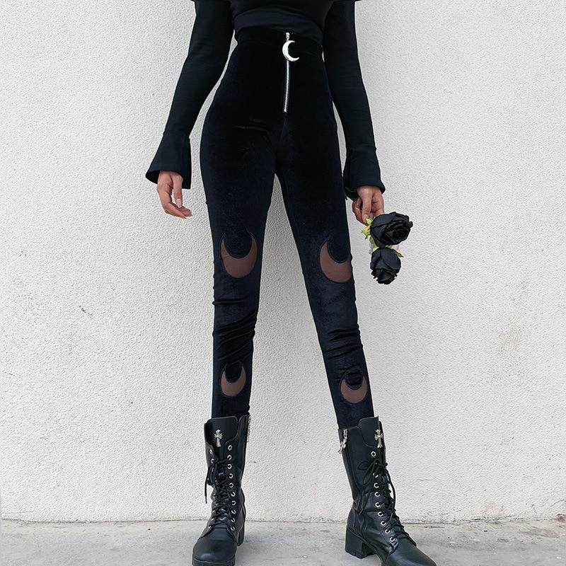 Goth Dark Black Gothic Female Trousers Harajuku Winter 2019 Aesthetic Moon Pendants Zipper Women's Pants Patchwork Grunge Punk