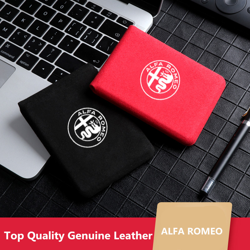 Top Quality Genuine Leather Black Car Logo Document Bag Wallet Card Package For Alfa Romeo Car Styling Car Accessories