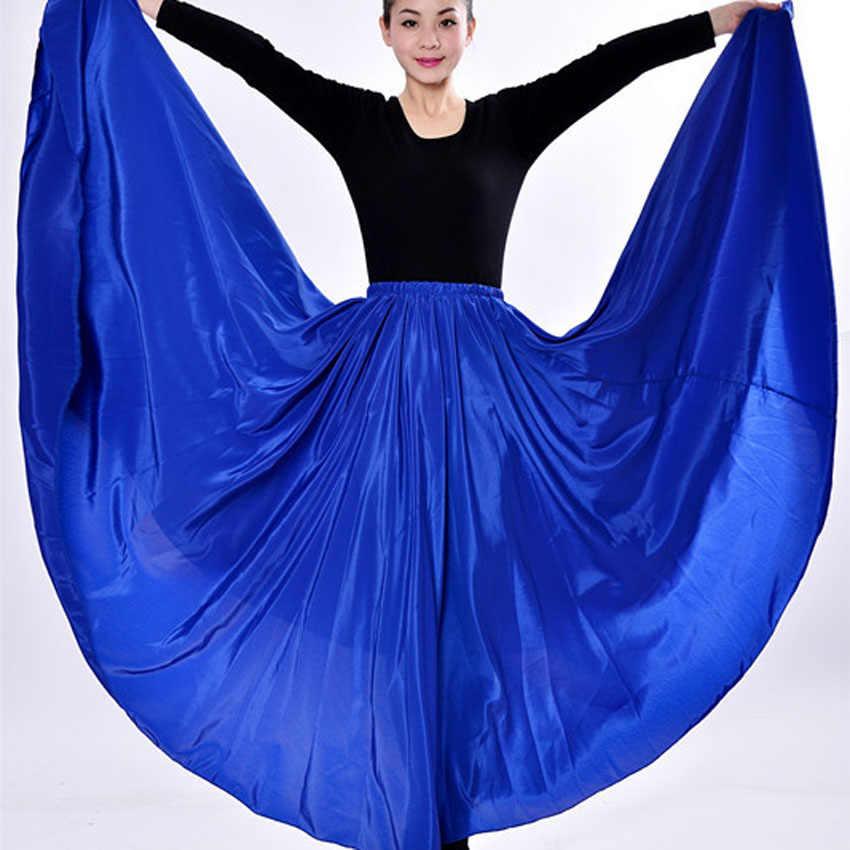 ロングスタイルの女性スペインステージ摩耗ダンスパフォーマンスフラメンコスカート衣装サテン高品質ポリエステル 360-720 度スカート