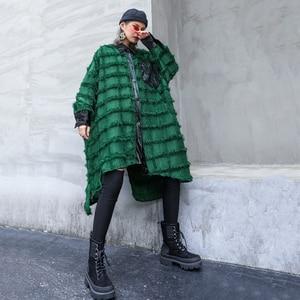 Image 4 - [EAM] Women Green Tassels Big Size Long Blouse New Lapel Long Sleeve Loose Fit Shirt Fashion Tide Spring Autumn 2020 1D618