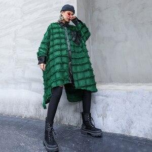 Image 4 - [EAM] נשים ירוק גדילים גדול גודל ארוך חולצה חדש דש ארוך שרוול Loose Fit חולצה אופנה גאות באביב סתיו 2020 1D618