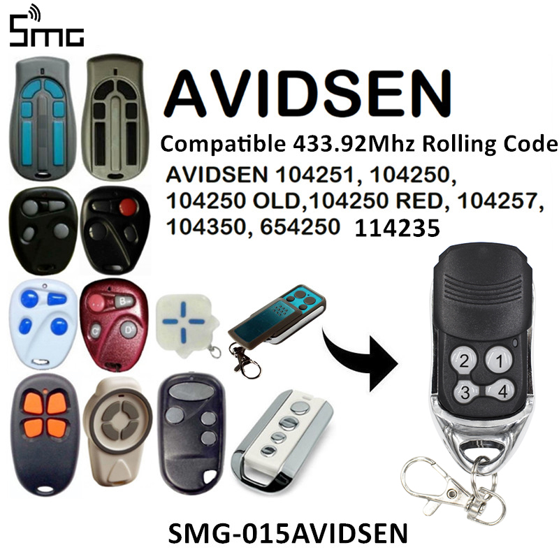 For AVIDSEN 104251 104250 OLD 104257 104350 Rolling Code Remote Clone AVIDSEN 100400 104505 100500 400600 Fixed Code 433.92MHz