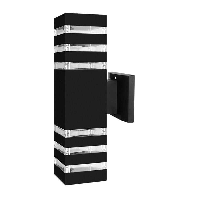 Square LED Wall Light E27 Dual Head Indoor Outdoor Waterproof Sconce Up Down Porch Lamp (Black)
