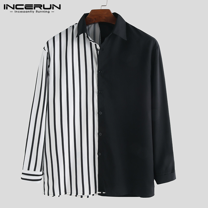 INCERUN Casual Men Shirt Long Sleeve Striped Patchwork Chic Lapel Collar Button Personality Brand Shirts Camisa Masculina S-5XL