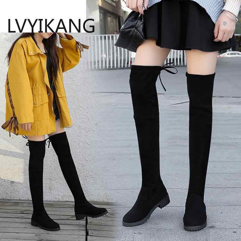 גודל 35-41 חורף מעל הברך מגפי נשים למתוח בד ירך גבוהה סקסי אישה נעלי ארוך בוטה Feminina zapatos De Mujer #66