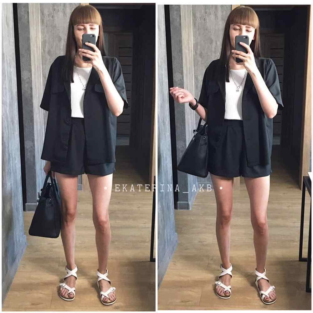 2020 summer new Korean small suit cardigan shorts two piece suit