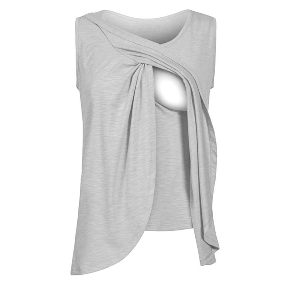 Maternity Top Nursing Tee Wrap Top Cap Sleeveless Double Layer Breast-feeding T Shirt Women's Blouse Summer Clothes Drop S-5XL