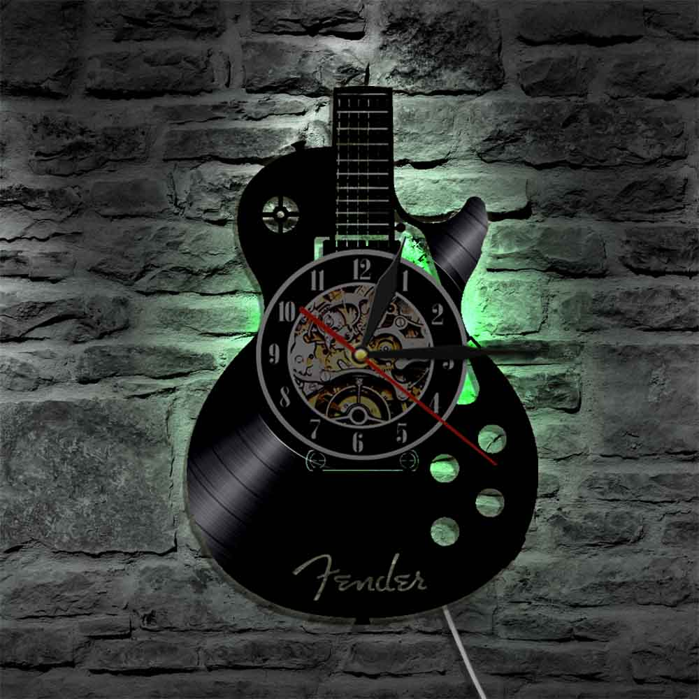 Guitar wall clock (Vinyl record material)- guitarmetrics