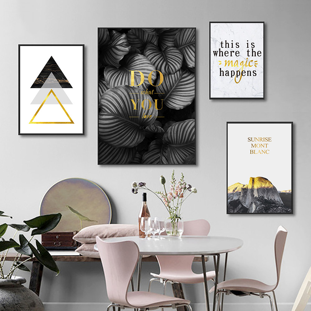 gold poster plant leaves geometric wall art canvas painting abstract pop pictures for living room unframed