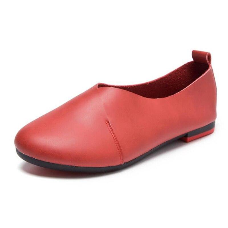 2019 nouvelles femmes Ballet chaussures plates sans lacet mocassins en cuir souple femmes mocassins peu profonde bateau chaussures ballerine Zapatos Mujer