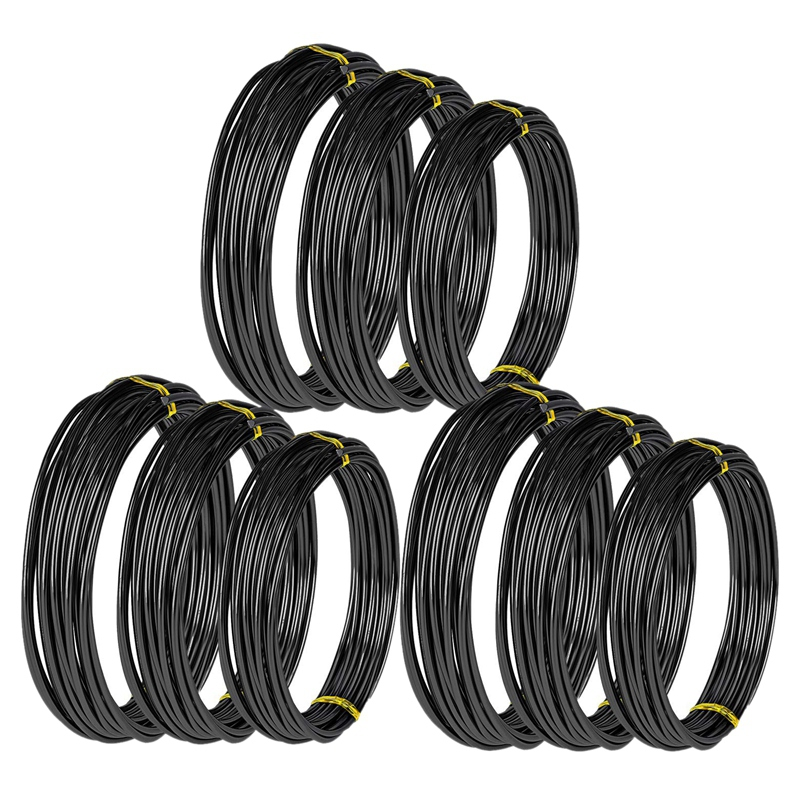 9 Rolls Bonsai Wires Anodized Aluminum Bonsai Training Wire With 3 Sizes (1.0 Mm,1.5 Mm,2.0 Mm),Total 147 Feet