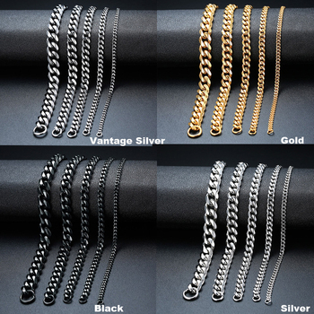 PUNK SILVER COLOR CURB CHAIN BRACELET FASHION MEN'S STAINLESS STEEL BANGLE BRACELETS 3MM 5MM 7MM 9MM 11MM 3