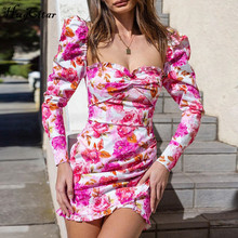 Hugcitar 2019 long sleeve floral print ruched ruffles mini dress autumn winter women party cute  outfits streetwear цена и фото