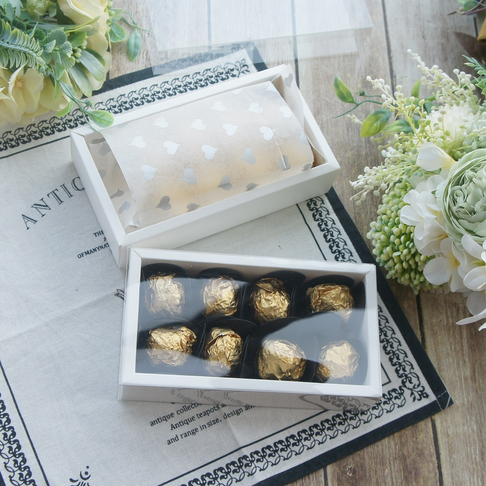 15.2*7.8.2*4cm 10set White Chocolate Paper Box With PVC Window As Wedding Christmas Birthday Candy Packaging