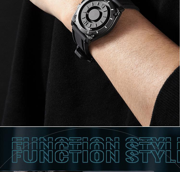 H5f935185cabd494f90eee8b31639b067C Eutour magnetic watch parallel time and space black technology men's couple wristwatch women's wristwatch personality gel wristb