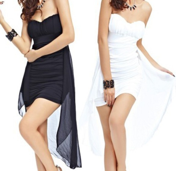 Free Shipping New Sexy Women Mini Party Clubwear White Black Hotsale Homecoming Mother Of The Bride Dresses