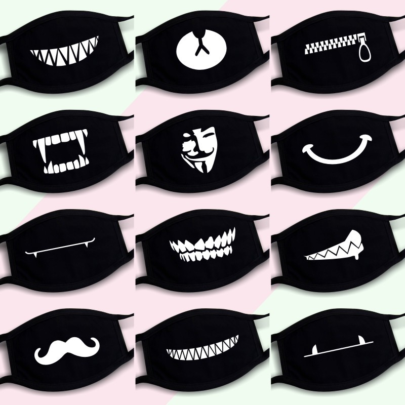 Dustproof Mouth Mask Pop Cotton Face Cartoon Face Reusable Fabric Anti Pollution Mask Party Face Mask Fashion Anti Dust