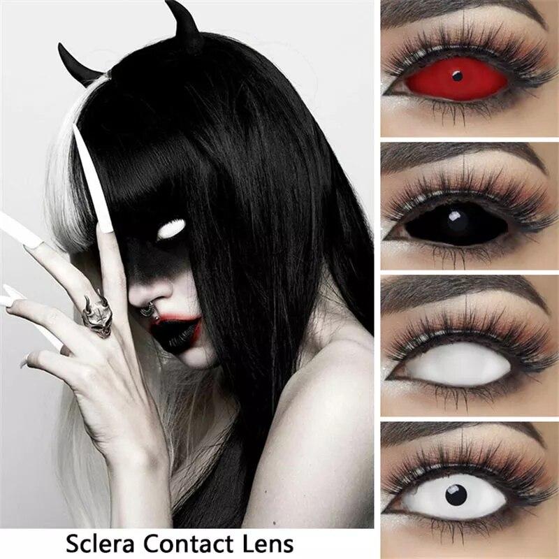 2 шт./пара UYAAI 22 мм свяжитесь линзы Хэллоуин Косплэй аниме глазные линзы белый красные, черные цветные контактные линзы для глаз