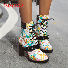 ENMAYLA Personality Trend Graffiti Womens Boots Round Toe Lace-Up Ankle Super High Winter Women Shoes PU Short Plush 2020