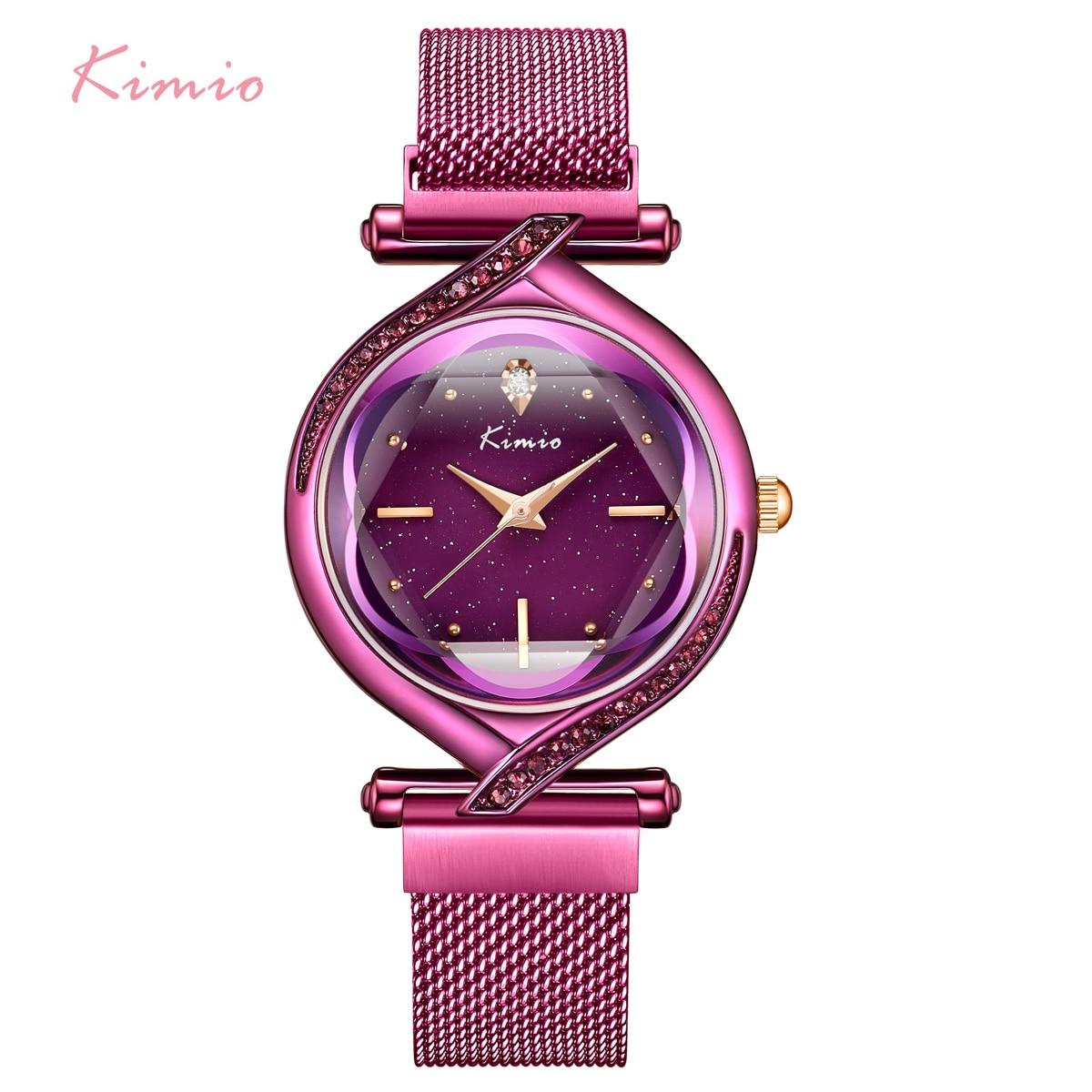 Kimio Woman Creative Watches Luxury Brand Mesh Belt Ladies Quartz Women Watch Clock 2019 Starry Sky Magnet Strap Wristwatch